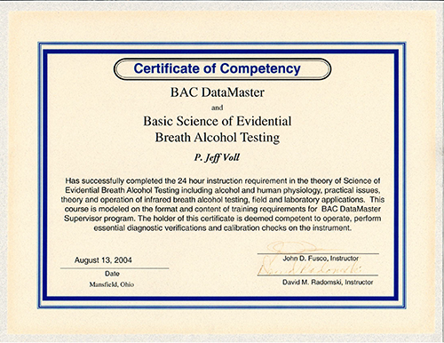 DUI Certificate of Comptency for BAC Datamaster & Basic Science of Evidential Breath Alcohol Test