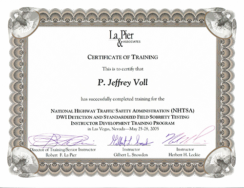 Certificate of Training for DUI