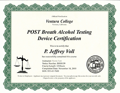Post Breath Alcohol Testing Device Certification
