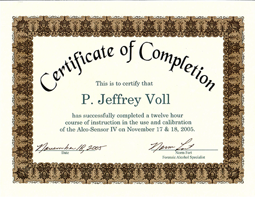 Certificate of Completion for DUI Courses